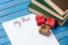 Gift boxes, books and paper with My Book words Royalty Free Stock Photo