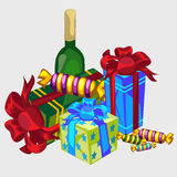 Gift boxes, bottle of wine and candy, festive set. Gift boxes, bottle of wine and candy, festive vector icon Royalty Free Stock Photo