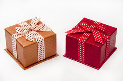 GIFT BOXES WITH BOW OVER WHITE Stock Photo