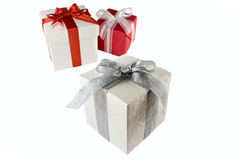 Gift boxes with bow and ribbon isolated Stock Photos