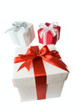 Gift boxes with bow and ribbon isolated Royalty Free Stock Images