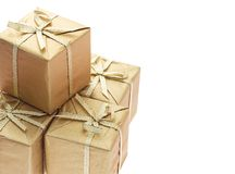 Gift boxes with bow ribbons background Royalty Free Stock Photography