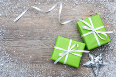 Gift boxes with bow and snowflakes Royalty Free Stock Photo