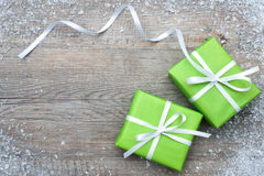 Gift boxes with bow and snowflakes Stock Image
