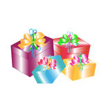 Gift boxes with bow Royalty Free Stock Image