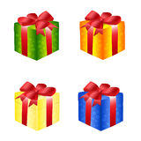 Gift boxes with bows. Illustration of gift boxes with bows on a white background Stock Photo