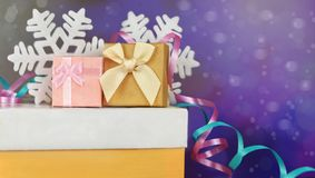 Gift boxes with bows and colorful confetti. For the holidays new year Stock Photos