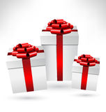 Gift boxes with bows on grayscale Royalty Free Stock Photography