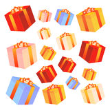 Gift boxes with bows and ribbons. Stock Image