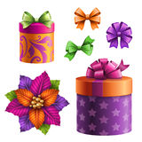 Gift boxes and bows, set of assorted holiday clip art objects Stock Photos