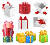 Gift boxes with bows. vector icon set. Gift boxes with bows. 3d vector icon set Royalty Free Stock Photography