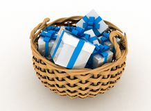 Gift boxes in a braiding basket Stock Image