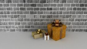 Gift boxes at a brick wall Stock Image