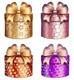 Gift boxes with bright bows and patterns of hearts and stars. Illustration of white background Stock Photos