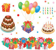 Gift boxes, cakes, baloons Royalty Free Stock Photos