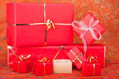 Gift Boxes and Candle Royalty Free Stock Image