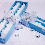 Gift boxes with candles Royalty Free Stock Photography