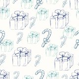 Gift boxes with canducane outline seamless pattern Royalty Free Stock Photos