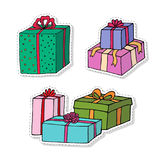 Gift boxes cartoon stickers set. Presents isolated on white. Collection for Birthday, Christmas holiday decorations. Royalty Free Stock Photos