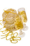 Gift boxes with champagne Stock Photo
