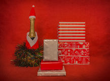 gift boxes with champagne bootle Royalty Free Stock Photography