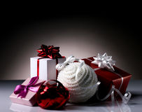 Gift boxes and christmas ball Stock Photography