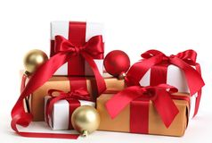 Gift boxes and christmas balls Royalty Free Stock Photos