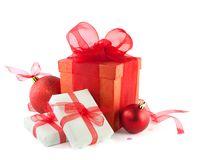 Gift boxes and christmas balls Stock Photography