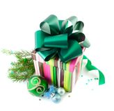 Gift boxes and christmas balls Royalty Free Stock Image