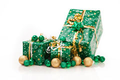 Gift boxes and christmas balls,Isolated on white Royalty Free Stock Images