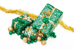 Gift boxes and christmas balls,Isolated on white Stock Photography