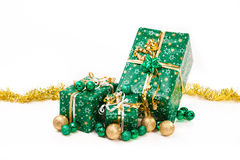 Gift boxes and christmas balls,Isolated on white Stock Photos
