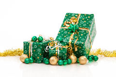 Gift boxes and christmas balls,Isolated on white Stock Photo
