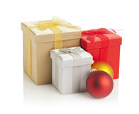 Gift boxes and christmas baubles Royalty Free Stock Images