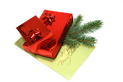 Gift Boxes and Christmas Congratulation Royalty Free Stock Images