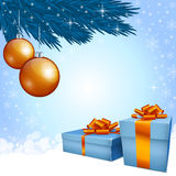 Gift boxes and Christmas decoration. On a light background stock illustration