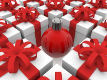 Gift boxes with Christmas decoration in the middle Royalty Free Stock Photography