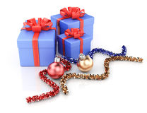 Gift boxes and christmas decoration Royalty Free Stock Images