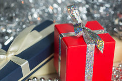 Gift boxes among Christmas decorations Royalty Free Stock Photography