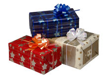 Gift boxes  at Christmas or New Year Royalty Free Stock Photos