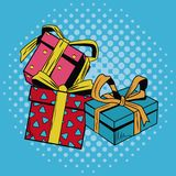 Gift boxes Christmas pop art. Vector illustration graphic vector illustration