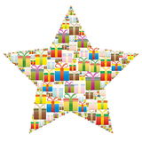 Gift boxes in a Christmas star Royalty Free Stock Photos