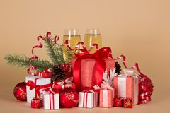 Gift boxes, Christmas toys, pine cones, serpentine Stock Images