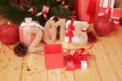 Gift boxes, Christmas toys and 2015 sign Stock Photography