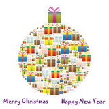Gift boxes in a Christmas tree Stock Images