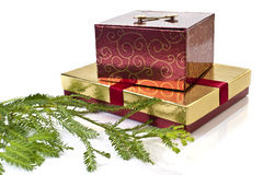 Gift boxes and Christmas tree Royalty Free Stock Photography
