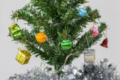 Gift boxes, Christmas tree decorations. Stock Photos