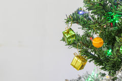 Gift boxes, Christmas tree decorations. Stock Image