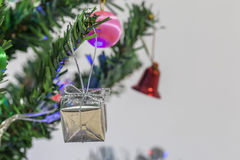 Gift boxes, Christmas tree decorations. Stock Photo