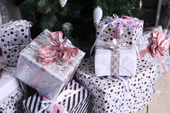Gift boxes with Christmas tree Stock Images